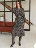 Черное платье-миди из шифона с принтом и оборкой по низу 54870, фото 2