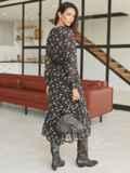 Черное платье-миди из шифона с принтом и оборкой по низу 54870, фото 3