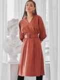 """Терракотовое платье из искусственной кожи с рукавом """"летучая мышь"""" 50138, фото 2"""