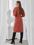 """Терракотовое платье из искусственной кожи с рукавом """"летучая мышь"""" 50138, фото 4"""
