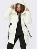 Зимняя куртка молочного цвета с принтованым поясом  55582, фото 1