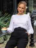 Блузка из прошвы с шифоновыми рукавами белая 54690, фото 3