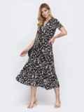 Чёрное платье с цветочным принтом и лифом на запах 48538, фото 2