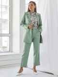 Мятный комплект с пиджаком и брюками на молнии 50467, фото 2