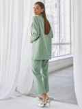 Мятный комплект с пиджаком и брюками на молнии 50467, фото 4