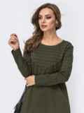 Платье из двунитки с контрастной кокеткой хаки 42969, фото 3