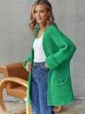 Кардиган вязаный без застёжек зелёного цвета с карманами 54895, фото 2
