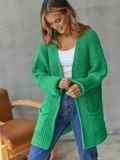 Кардиган вязаный без застёжек зелёного цвета с карманами 54895, фото 3