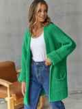 Кардиган вязаный без застёжек зелёного цвета с карманами 54895, фото 4