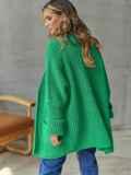 Кардиган вязаный без застёжек зелёного цвета с карманами 54895, фото 5