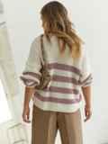 Молочный свитер свободного кроя в розовую полоску 54892, фото 2