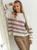 Молочный свитер свободного кроя в розовую полоску 54892, фото 3