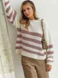 Молочный свитер свободного кроя в розовую полоску 54892, фото 4