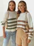 Молочный свитер свободного кроя в зелёную полоску 54894, фото 3