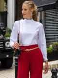 Белая блузка прямого кроя с воротником-стойкой 49853, фото 2