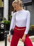 Белая блузка прямого кроя с воротником-стойкой 49853, фото 3