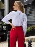 Белая блузка прямого кроя с воротником-стойкой 49853, фото 4