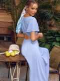 Голубое платье с вырезом на спинке и расклешенной юбкой 54398, фото 1
