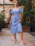 Голубое платье с вырезом на спинке и расклешенной юбкой 54398, фото 5