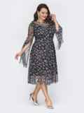 Двухслойное платье батал с расклешенной юбкой черное 52051, фото 2