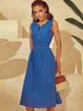 Расклешенное платье из прошвы с фигурным вырезом синее 53866, фото 1