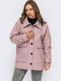 Короткое пальто из букле без подкладки розовое 55279, фото 2