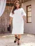 Платье батал из прошвы с разрезами по бокам белое 53864, фото 2