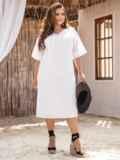 Платье батал из прошвы с разрезами по бокам белое 53864, фото 3