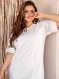 Платье батал из прошвы с разрезами по бокам белое 53864, фото 4