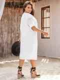 Платье батал из прошвы с разрезами по бокам белое 53864, фото 5