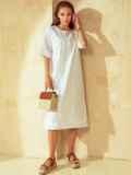 Свободное платье из прошвы с разрезами по бокам белое 53864, фото 1