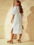 Свободное платье из прошвы с разрезами по бокам белое 53864, фото 4