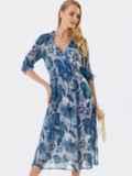 Шифоновое платье с принтом и запахом на груди серое 53461, фото 3