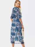 Шифоновое платье с принтом и запахом на груди серое 53461, фото 4