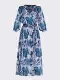Шифоновое платье с принтом и запахом на груди серое 53461, фото 5