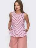 Блузка в полоску с разрезами по бокам красная 49206, фото 2
