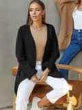Кардиган вязаный без застёжек чёрного цвета с карманами 54899, фото 3