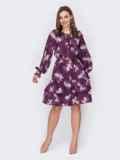 Платье-трапеция в цветочный принт с оборками по низу фиолетовое 53417, фото 2