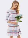 Пудровое платье в клетку со складками по низу 53564, фото 3