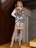 Бежевое платье без рукавов с геометрическим принтом 52628, фото 3