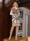 Бежевое платье без рукавов с геометрическим принтом 52628, фото 5