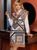 Бежевое платье без рукавов с геометрическим принтом 52628, фото 6