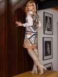 Бежевое платье без рукавов с геометрическим принтом 52628, фото 8