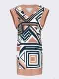 Бежевое платье без рукавов с геометрическим принтом 52628, фото 9