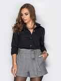 Черная классическая рубашка с карманами на полочке 36952, фото 1