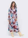 Длинное платье-рубашка из штапеля с принтом серое 51167, фото 2