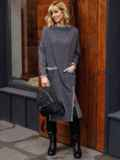 Платье графитового цвета с разрезами спереди 52629, фото 2