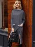 Платье графитового цвета с разрезами спереди 52629, фото 3