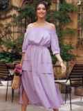 Сиреневое платье с открытыми плечами и объемными карманами 54187, фото 1
