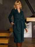 Зеленое платье из замши на пуговицах 52636, фото 3